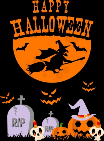 halloween poster skull tomb pumpkin moonlight wizard icons