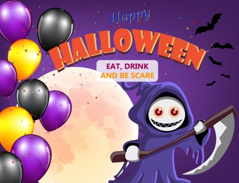halloween poster violet sky death balloon moonlight icons