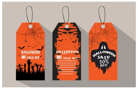 halloween sale tags horror orange and black color