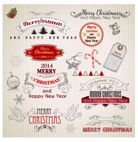 Hand Drawn Christmas Banners and Labels