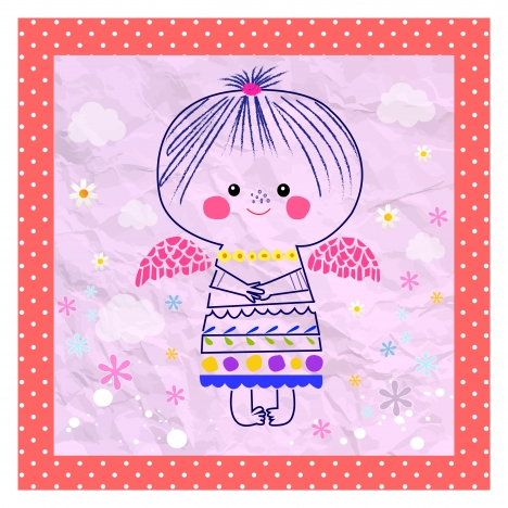 hand drawn drawing vector illustration of cute angel