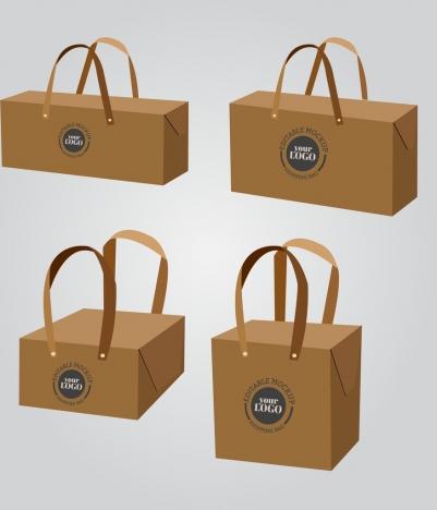 handy bags templates brown 3d design