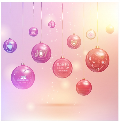 hanging baubles on sparkle christmas background