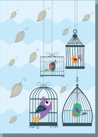 hanging birds cages background colored design style