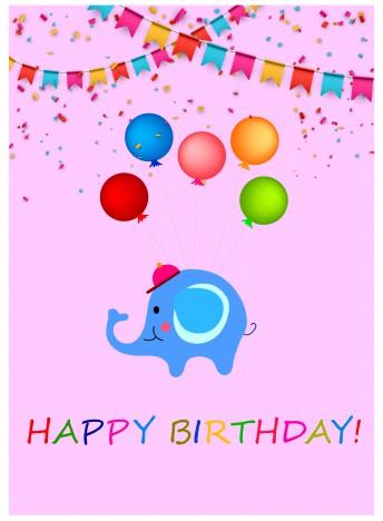 happy birthday background with cartoon elephant