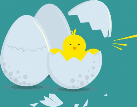 hatched egg background cute chick icon colored cartoon