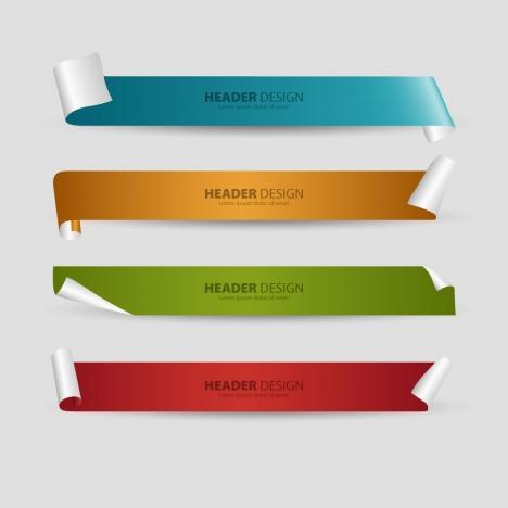header design sets with 3d curled sheet background