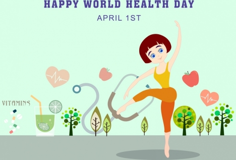 health day banner fitness woman icon colored cartoon