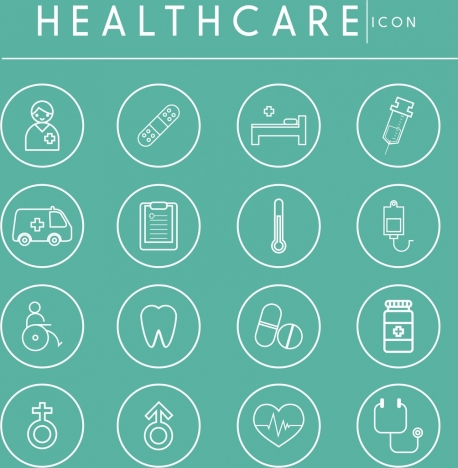 healthcare design elements flat icons sketch