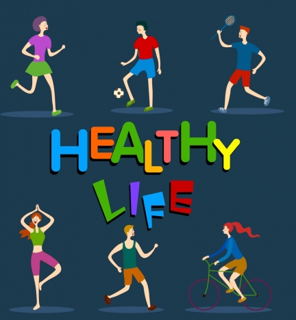 healthy life background sports activities icons cartoon sketch