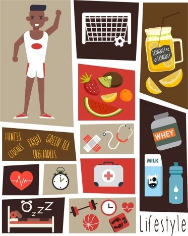 healthy lifestyle design elements health symbols decor