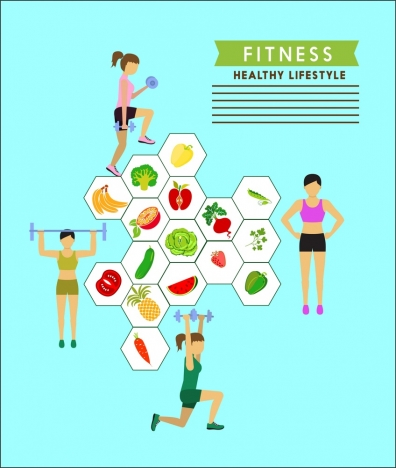 healthy lifestyle theme female and fruit icons infogrphic