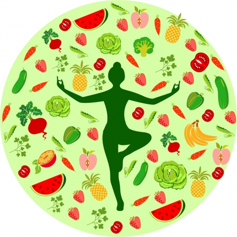 healthy lifestyle theme female silhouette and fruit icons