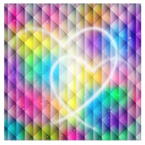 heart shape on rainbow color background