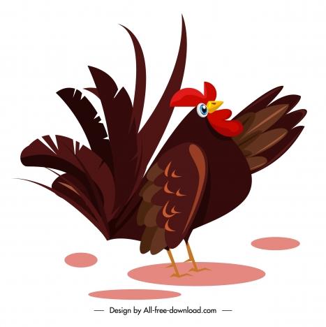 hen icon colored classic design cartoon sketch