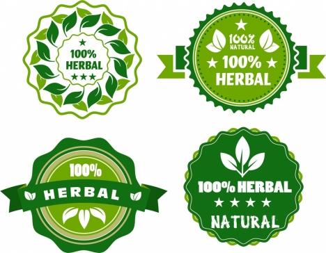 herbal guarantee stamps sets green circles design
