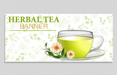 herbal tea background glass cup flowers icons decoration