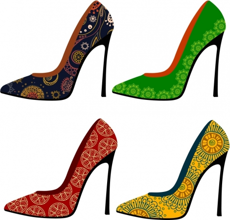 high heel shoes collection classical floral decoration style