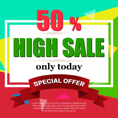 high sale banner vector illustration on colorful background