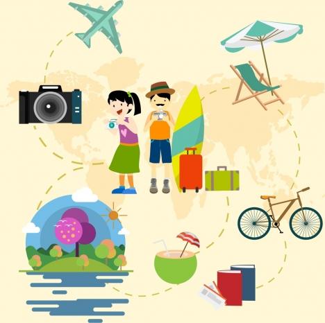 hobby design elements tourist icons decoration various symbols
