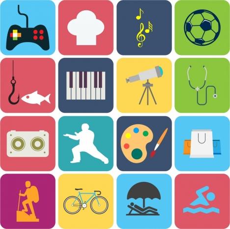 hobby design elements various symbols isolation colorful decoration