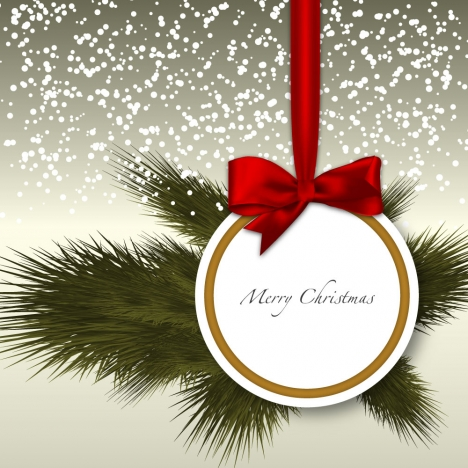 holiday background with fir twigs and red ribbon