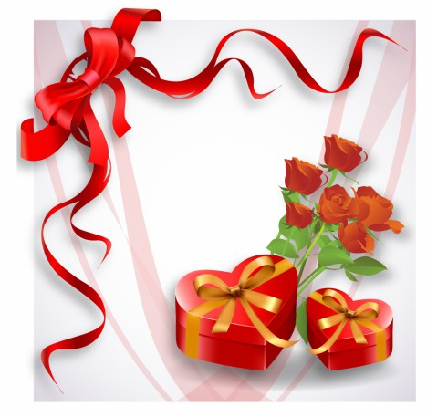 Holiday background with red heart-shaped gift box and rose