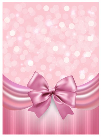 Holiday pink background with gift glossy bow and ribbon