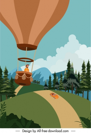 holiday poster balloon adventure sketch cartoon design