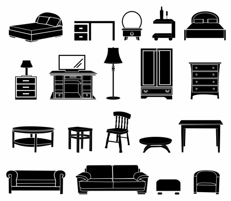 Home Furniture Black And White Icon Vectors Stock In