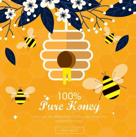 honey advertising yellow bees icons webpage design