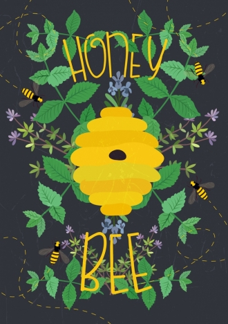 honey bee advertisement yellow beehive green leaves decoration