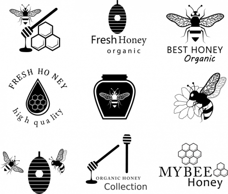 honey logotypes black white design various icons isolation