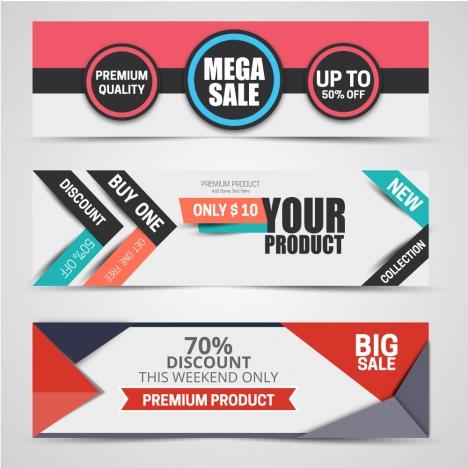 horizontal label sale promotion sets vector illustration