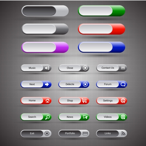 horizontal webpage buttons sets design with user interface