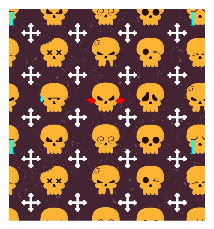 horror repeating pattern with skulls and bones illustration
