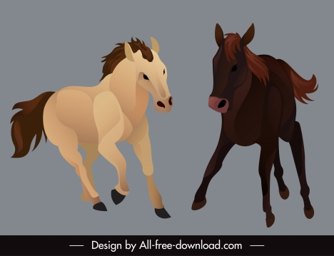 horse species icons dynamic sketch cartoon design