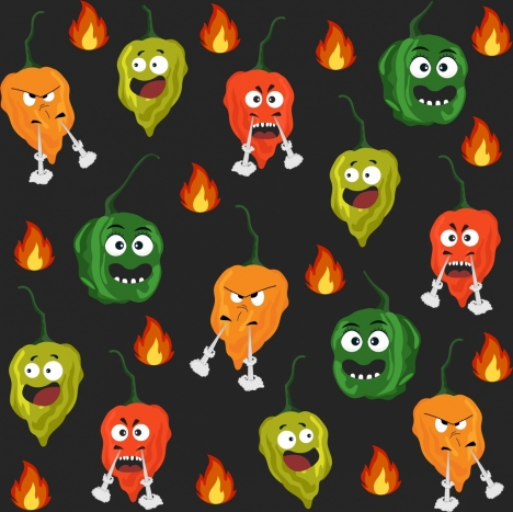 hot chili background funny stylized icons repeating design