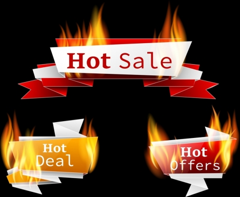 hot sales design elements fire icons 3d origami
