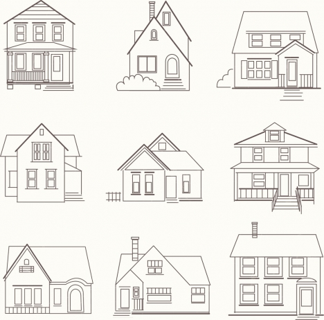 house icons collection various shapes outline