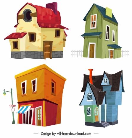 house icons templates retro contemporary sketch