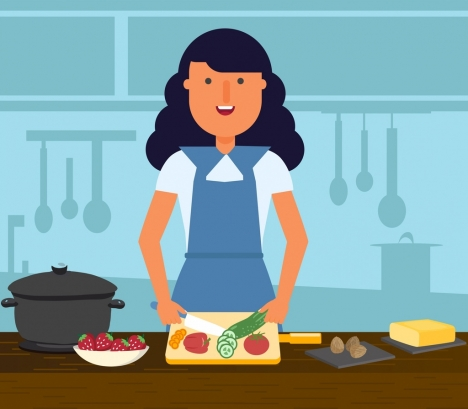 Housewife Background Woman Cooking Work Icons Cartoon Design Vectors Stock In Format For Free Download 2 56mb