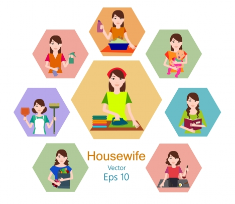 housewife concepts design in flat with daily activities