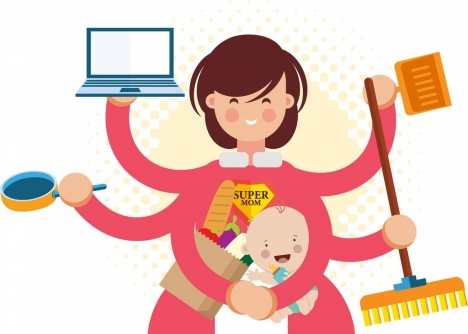 housewife work background mother kid multihands icons