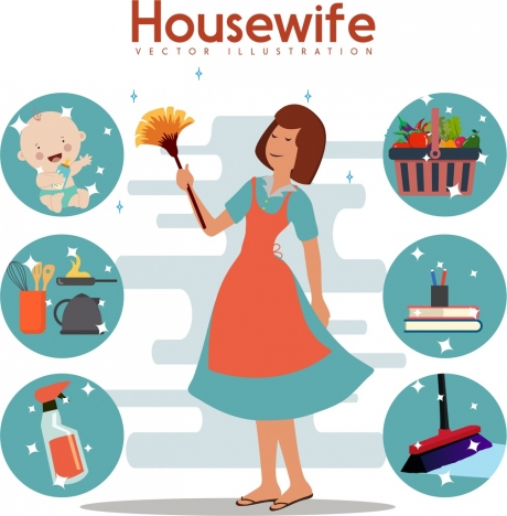 housewife work design elements sparkling decor circles isolation