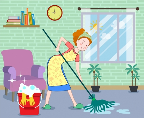 housewife work drawing cleaning woman icon colored cartoon
