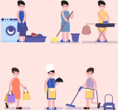 housewife work icons cartoon characters