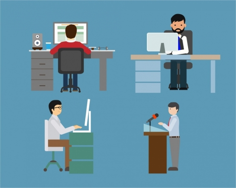 human at work icons various activites and gestures