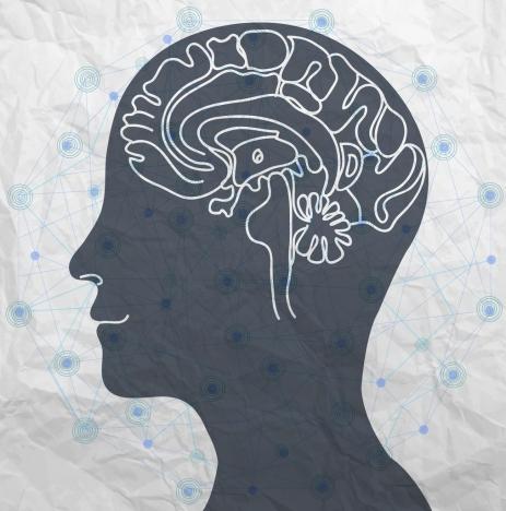 human brain sketch head silhouette dots connection