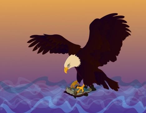 hunting eagle icon fish prey sea background decoration
